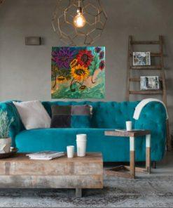 ציור על קנבס עם צבעי אקריל,ריקוד הפרחים